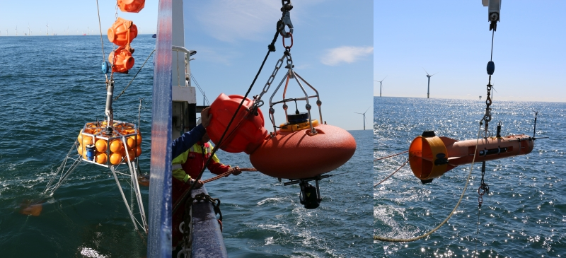 Oceanographic equipment used during OBLEX-F1. Bottom frame (left), submerged buoy system (middle) and submerged Moored Autonomous Turbulence System (right).